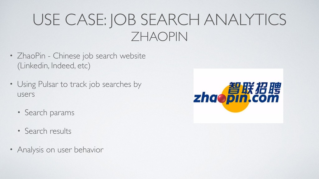 USE CASE: JOB SEARCH ANALYTICS ZHAOPIN • ZhaoPi...