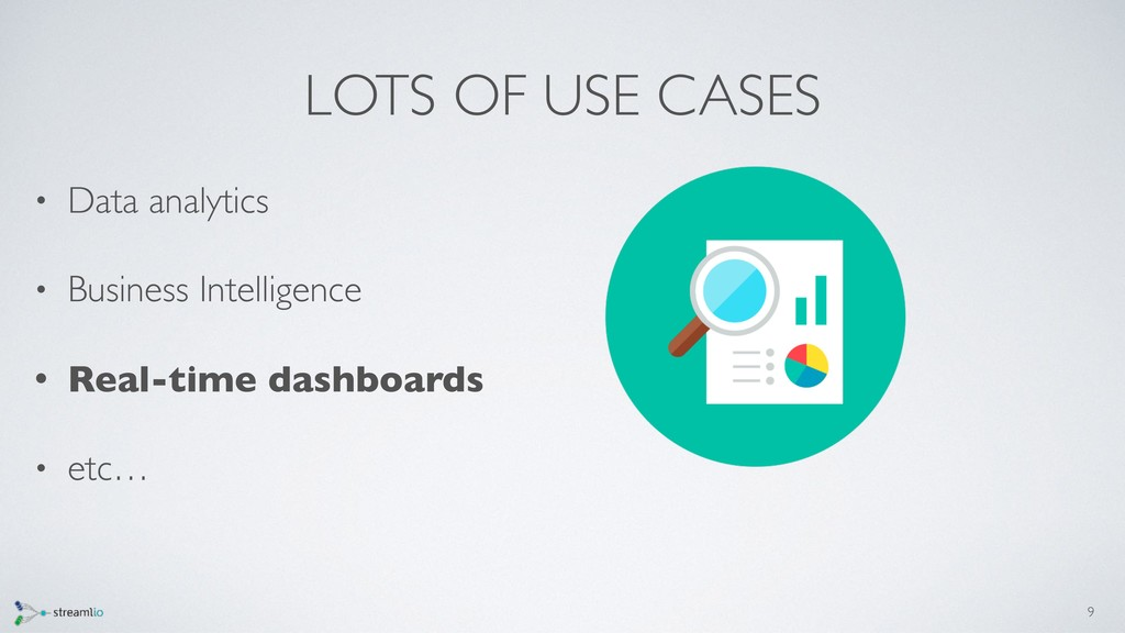 LOTS OF USE CASES • Data analytics • Business I...