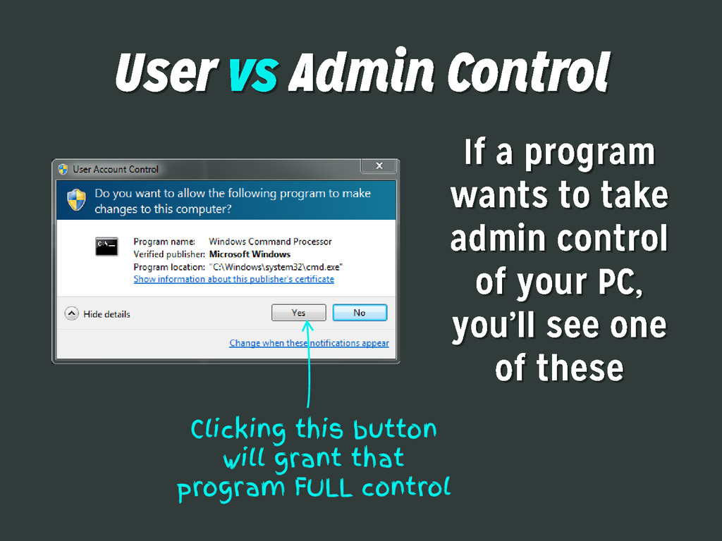 Clicking this button will grant that program FU...