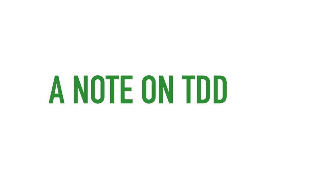 A NOTE ON TDD