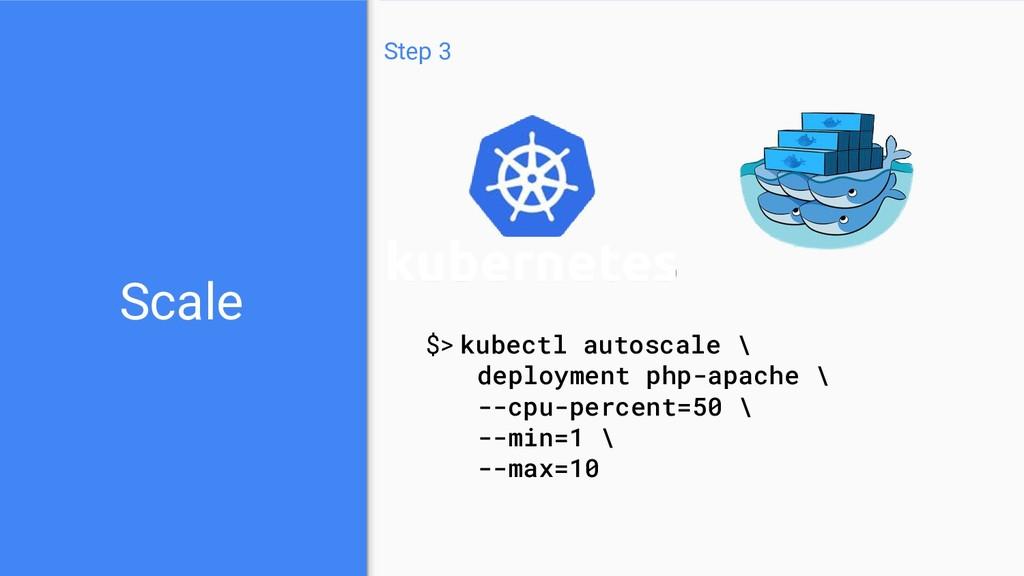 Scale Step 3 $> kubectl autoscale \ deployment ...