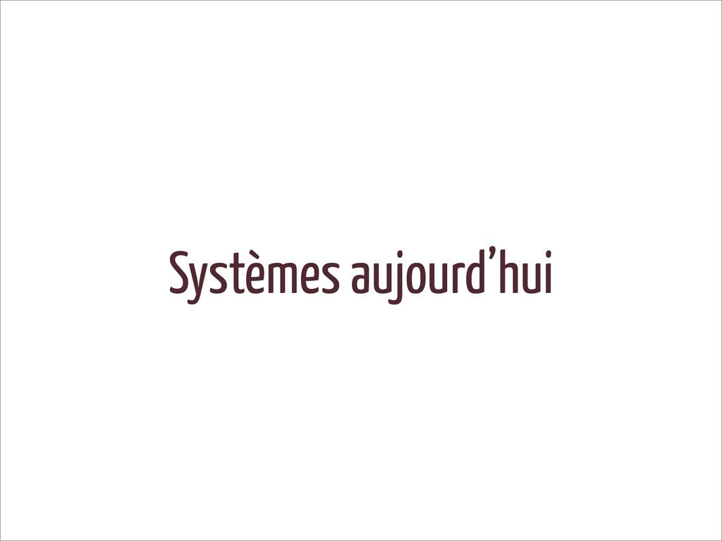 Systèmes aujourd'hui
