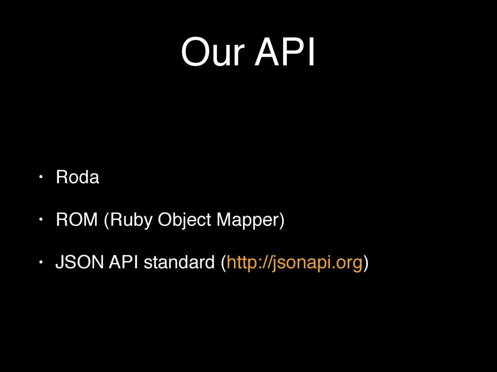 Our API • Roda • ROM (Ruby Object Mapper) • JSO...