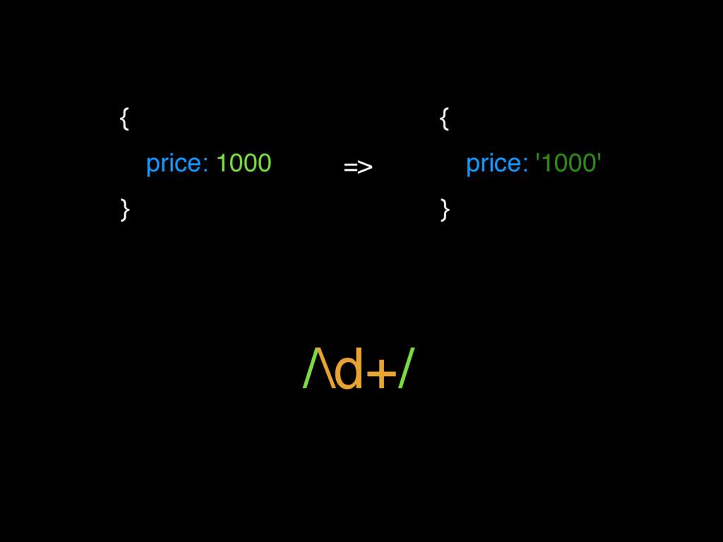 { price: 1000 } => { price: '1000' } /\d+/