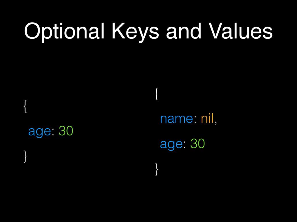 Optional Keys and Values { age: 30 } { name: ni...