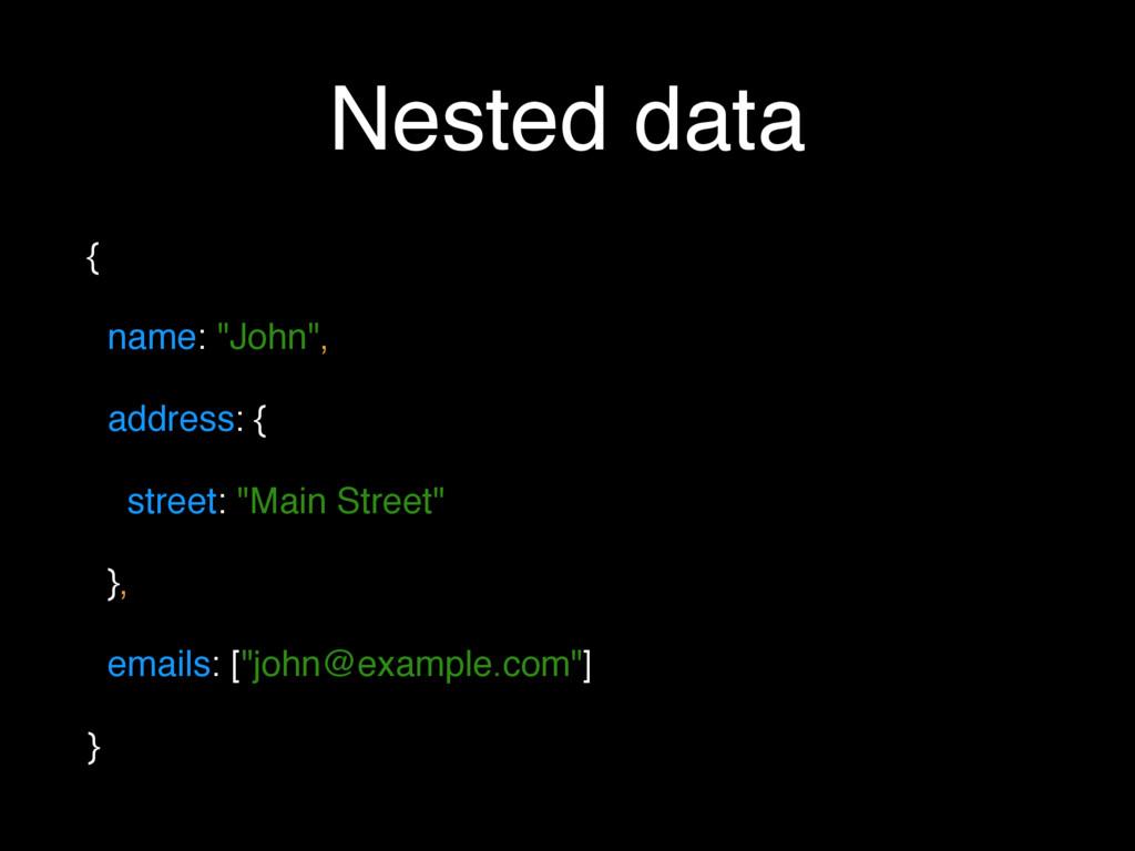 """Nested data { name: """"John"""", address: { street: ..."""