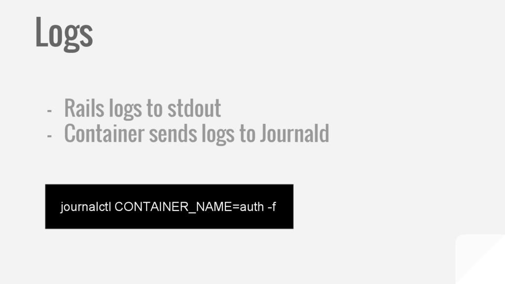 Logs - Rails logs to stdout - Container sends l...