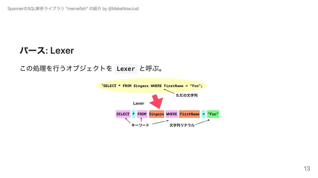 パース: Lexer この処理を⾏うオブジェクトを Lexer と呼ぶ。 SpannerのSQ...
