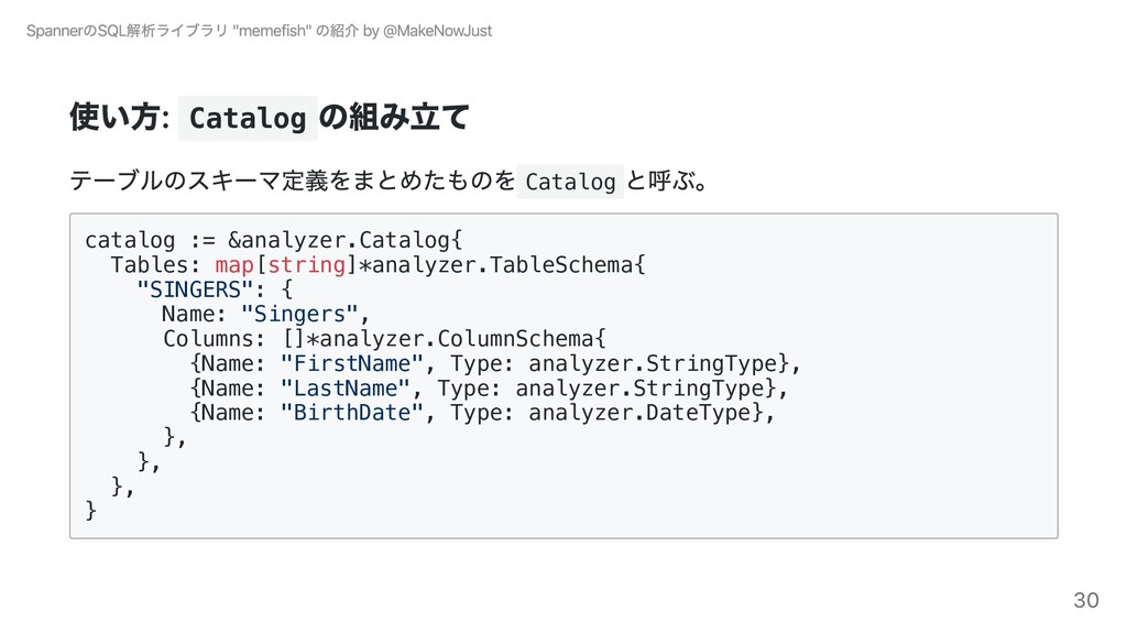 使い⽅: Catalog の組み⽴て テーブルのスキーマ定義をまとめたものを Catalog ...