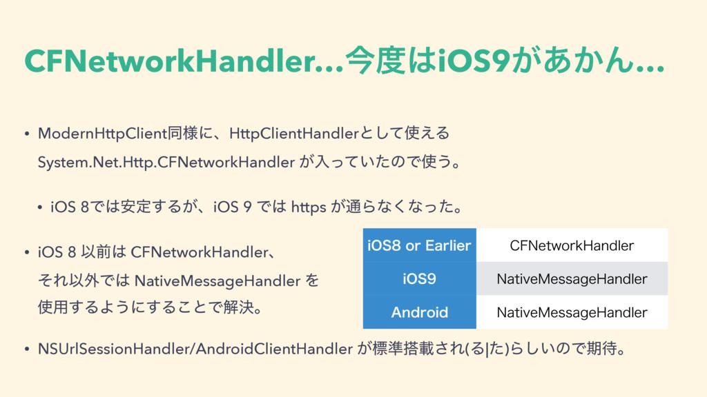 CFNetworkHandler…ࠓiOS9͕͔͋Μ… • ModernHttpClien...