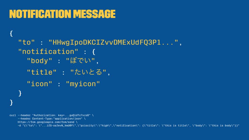 "Notification Message { ""to"" : ""HHwgIpoDKCIZvvDME..."