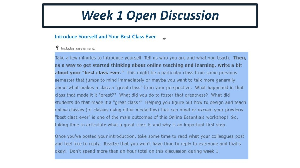 Week 1 Open Discussion