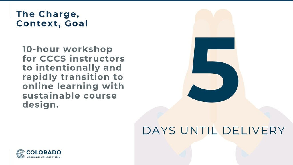 The Charge, Context, Goal 10-hour workshop for ...