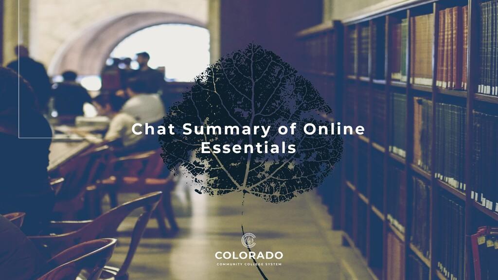 Chat Summary of Online Essentials