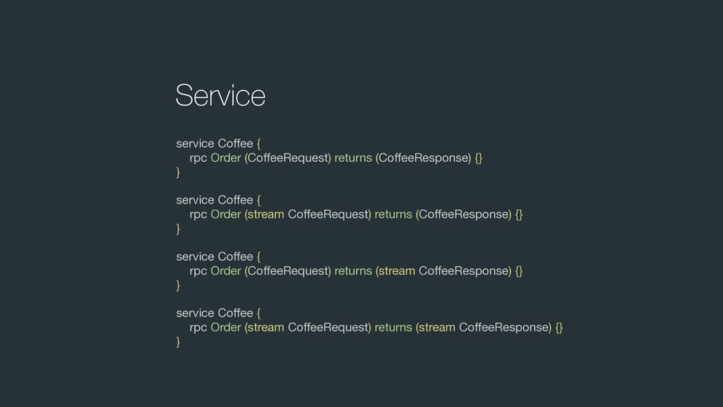 Service service Coffee {  rpc Order (CoffeeReques...