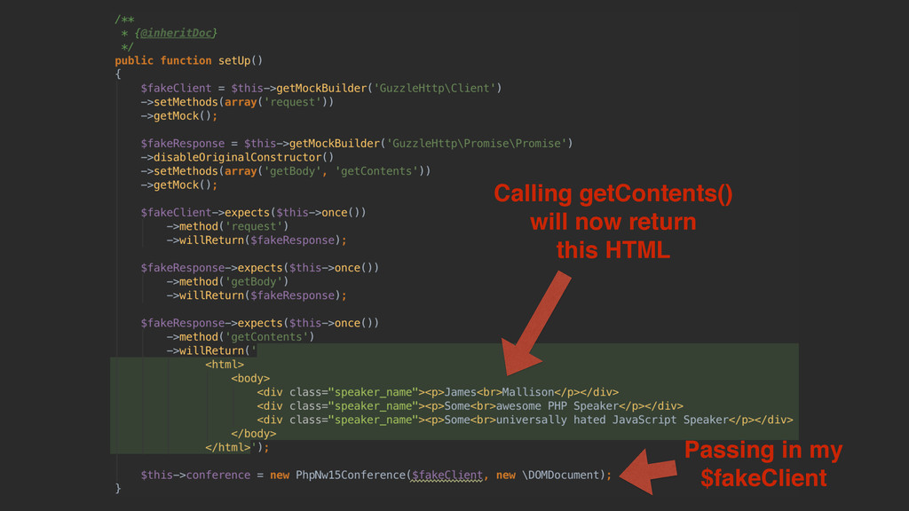 Calling getContents() will now return this HTML...