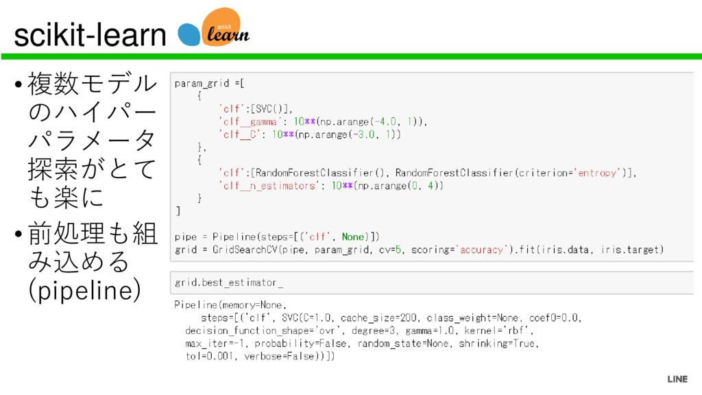 scikit-learn •複数モデル のハイパー パラメータ 探索がとて も楽に •前処理も...