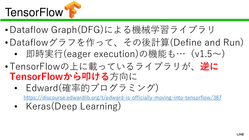 TensorFlow •Dataflow Graph(DFG)による機械学習ライブラリ •Da...