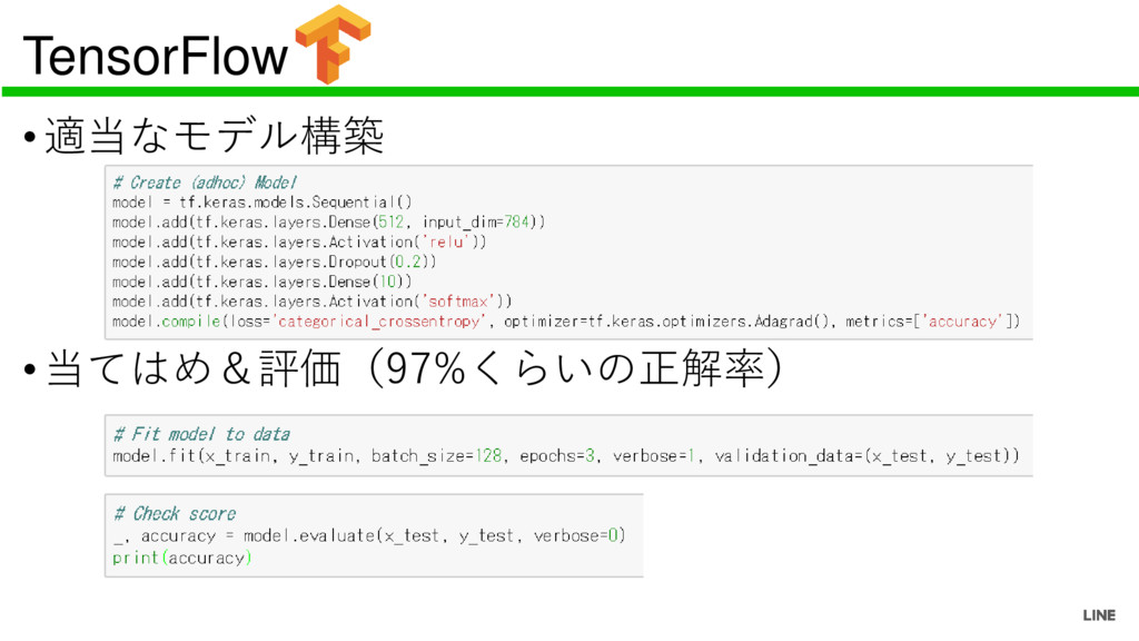 TensorFlow •適当なモデル構築 •当てはめ&評価(97%くらいの正解率)
