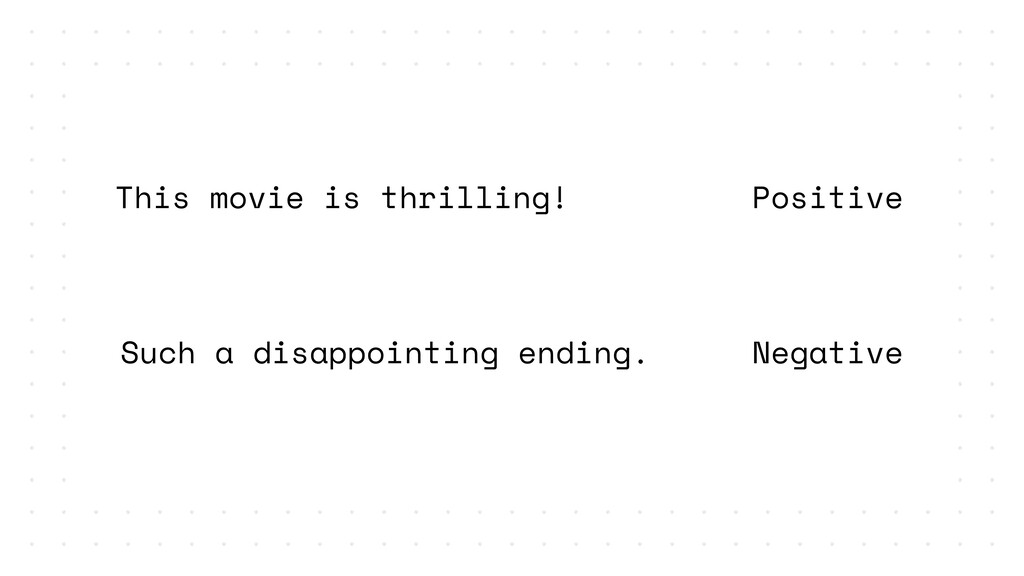 Positive Negative This movie is thrilling! Such...