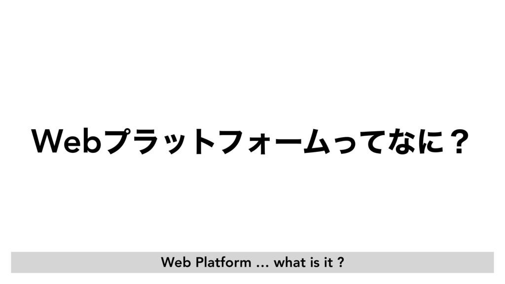 WebϓϥοτϑΥʔϜͬͯͳʹʁ Web Platform … what is it ?
