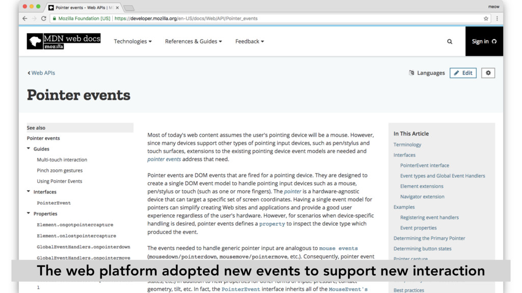 The web platform adopted new events to support ...