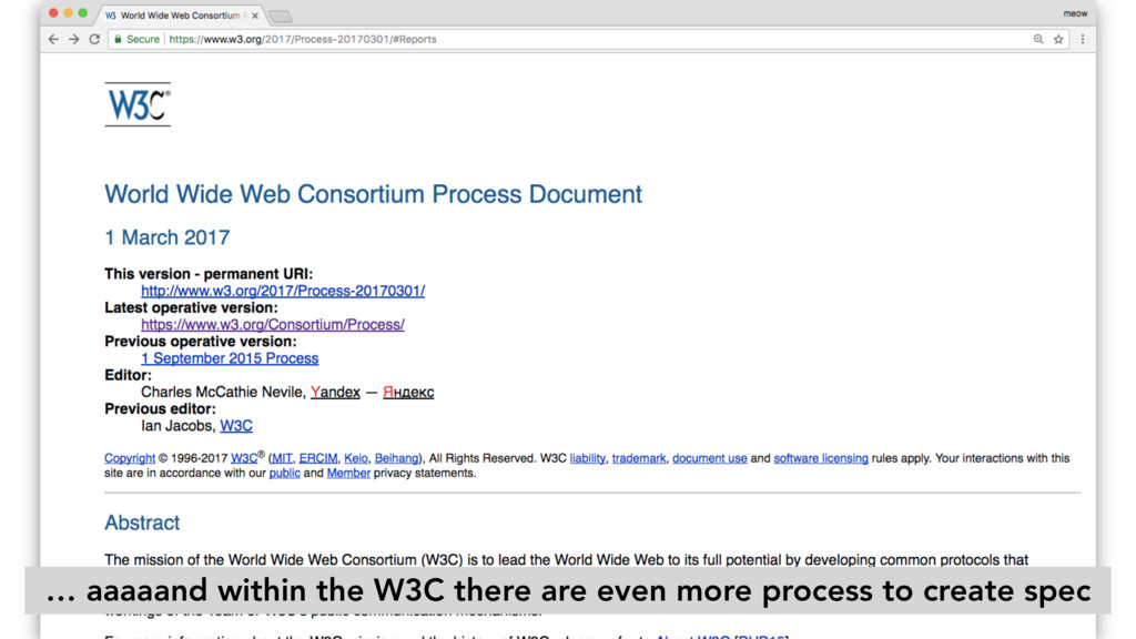 … aaaaand within the W3C there are even more pr...