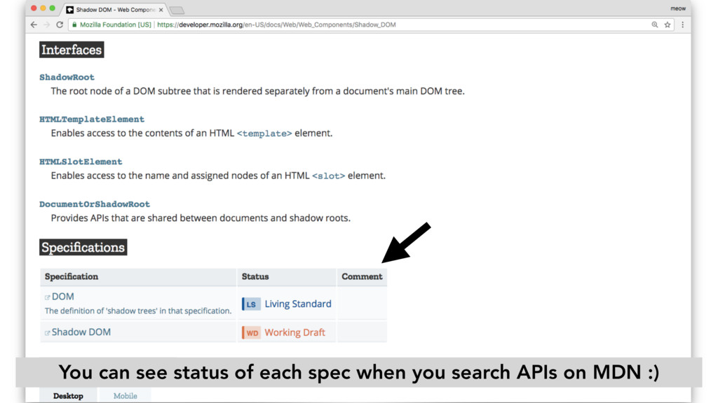 You can see status of each spec when you search...
