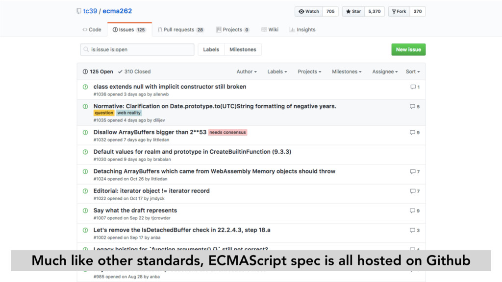 Much like other standards, ECMAScript spec is a...