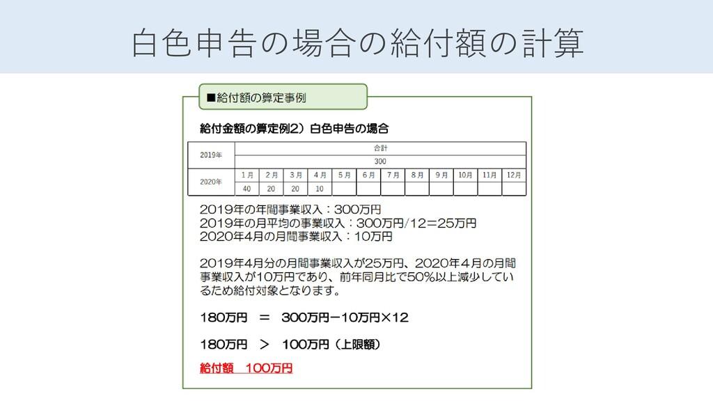 白色申告の場合の給付額の計算