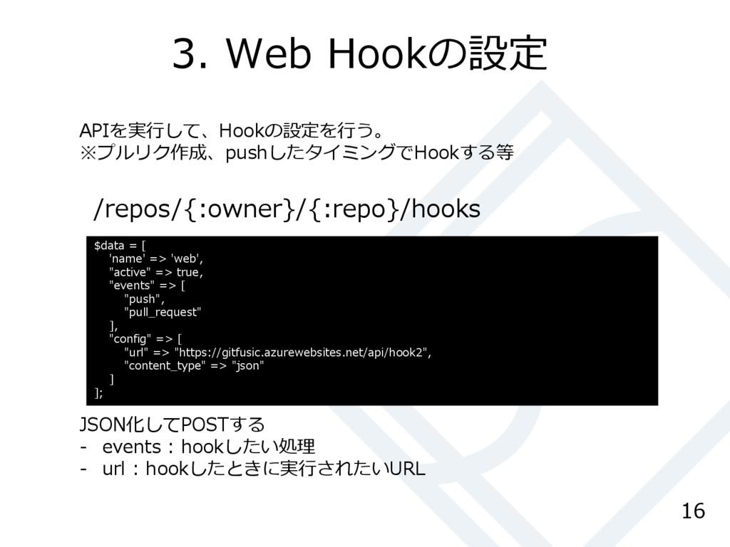 3. Web Hookの設定 16 /repos/{:owner}/{:repo}/hooks...