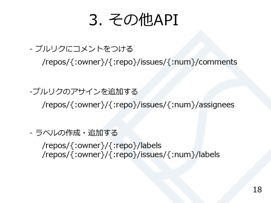 3. その他API 18 /repos/{:owner}/{:repo}/issues/{:n...