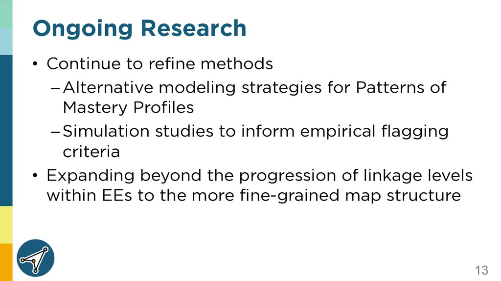 13 Ongoing Research • Continue to refine method...