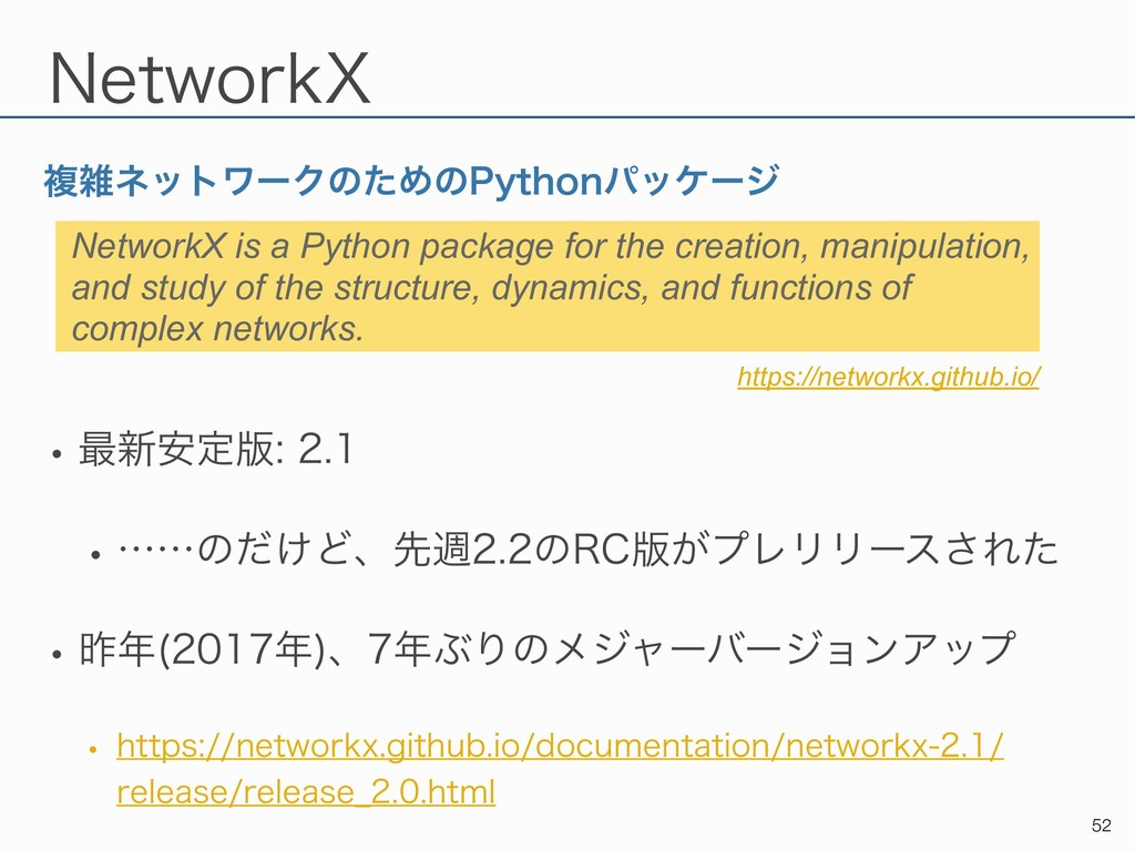 /FUXPSL9 ෳωοτϫʔΫͷͨΊͷ1ZUIPOύοέʔδ !52 NetworkX i...