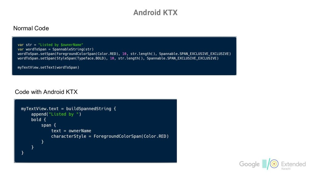 Android KTX Normal Code Code with Android KTX