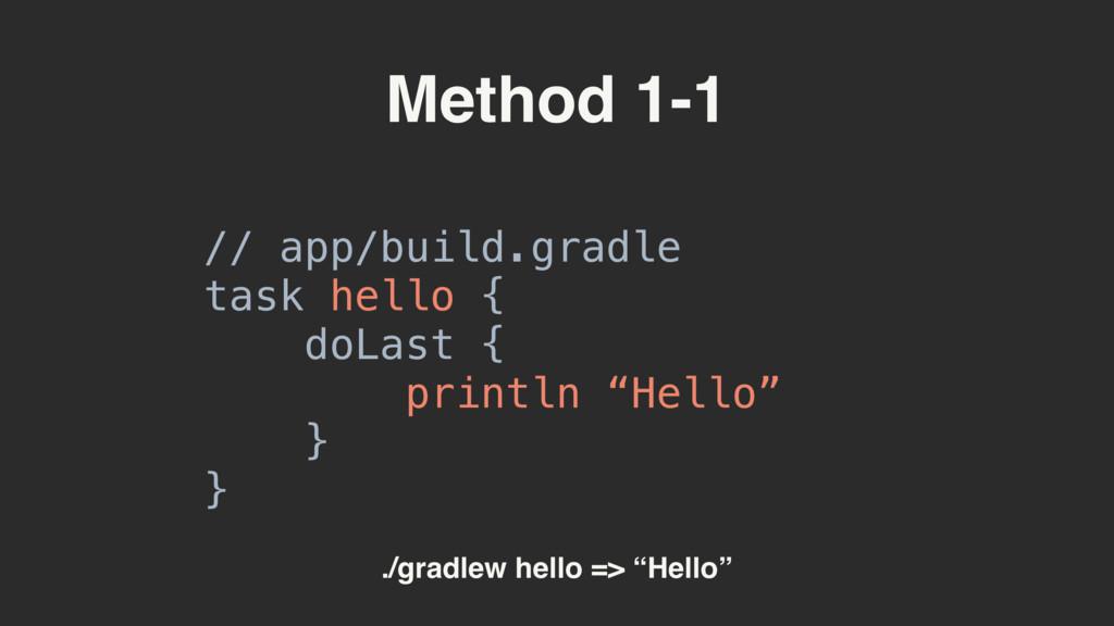 Method 1-1 // app/build.gradle task hello { d...