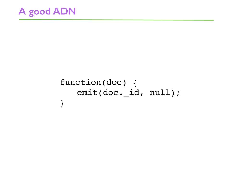 A good ADN function(doc) { emit(doc._id, null);...