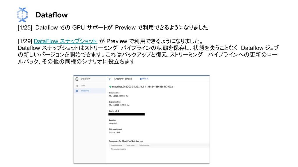 Dataflow [1/25] Dataflow での GPU サポートが Preview で...