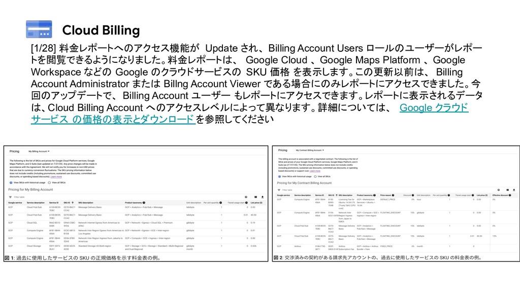 Cloud Billing [1/28] 料金レポートへのアクセス機能が Update され、...