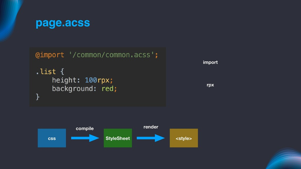 page.acss import rpx css StyleSheet <style> com...