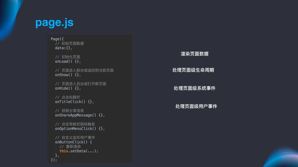 page.js 渲染⻚页⾯面数据 处理理⻚页⾯面级⽣生命周期 处理理⻚页⾯面级系统事件 处理理...