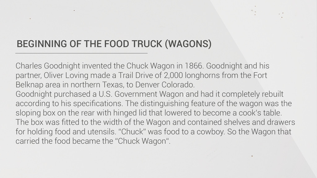 BEGINNING OF THE FOOD TRUCK (WAGONS) Charles Go...