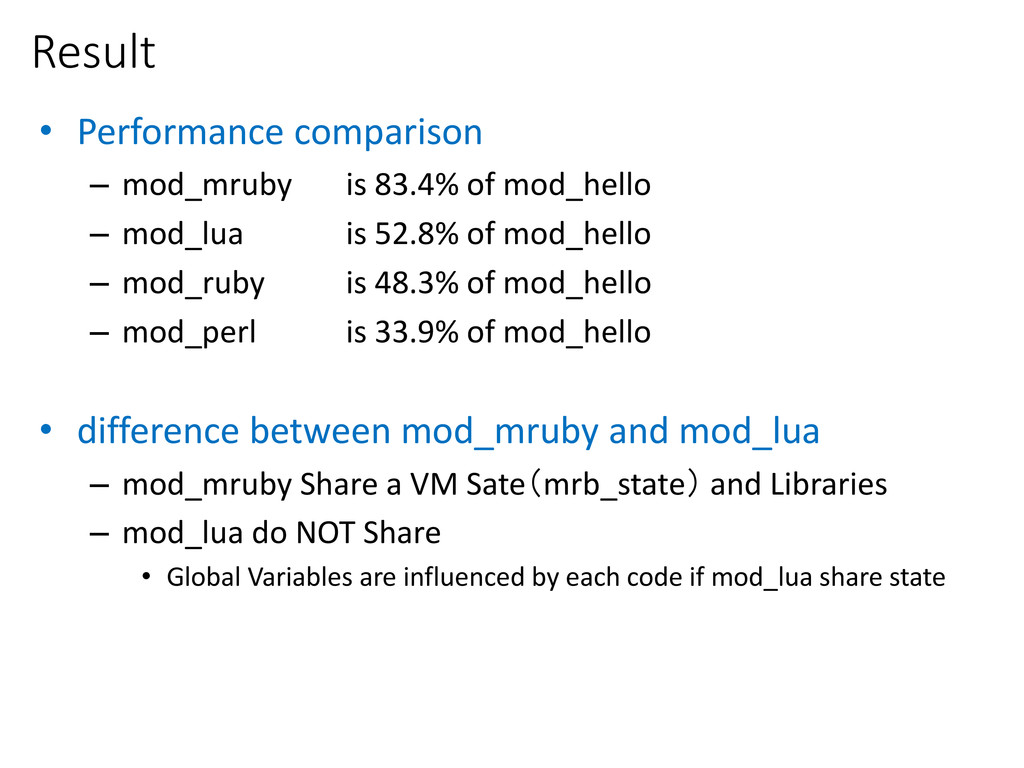 Result • Performance comparison – mod_mruby is ...