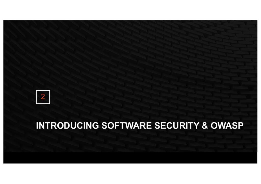 INTRODUCING SOFTWARE SECURITY & OWASP 2