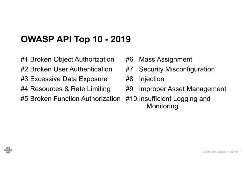 © 2021 EOIN WOODS // 20210101.1 OWASP API Top 1...