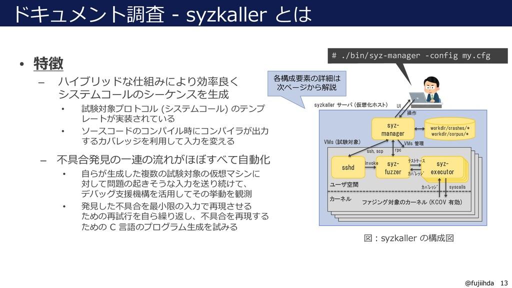 13 13 @fujiihda ドキュメント調査 - syzkaller とは • 特徴 – ...