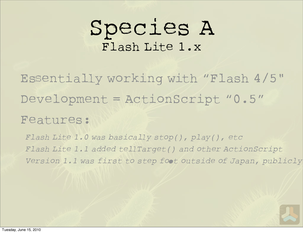 Species A Flash Lite 1.x Flash Lite 1.0 was bas...
