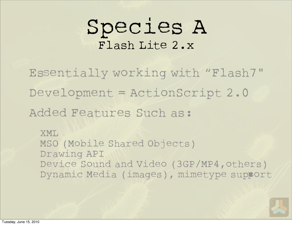 Species A Flash Lite 2.x E entia y working with...