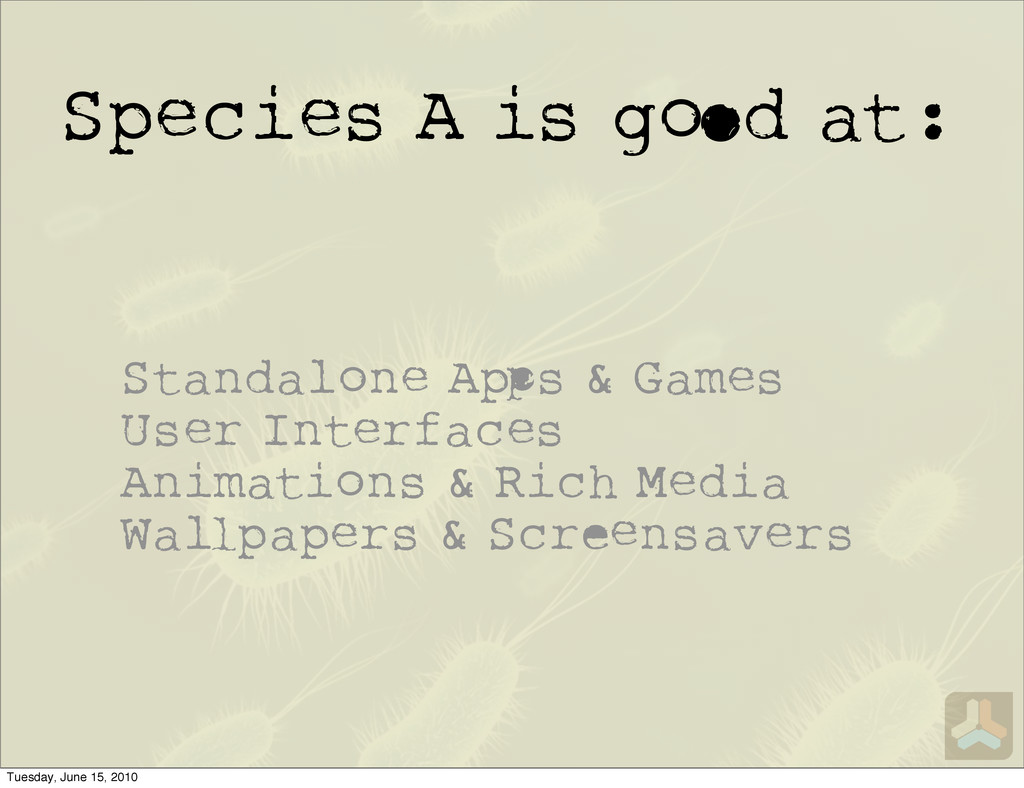Species A is g d at: Standalone A s & Games Use...