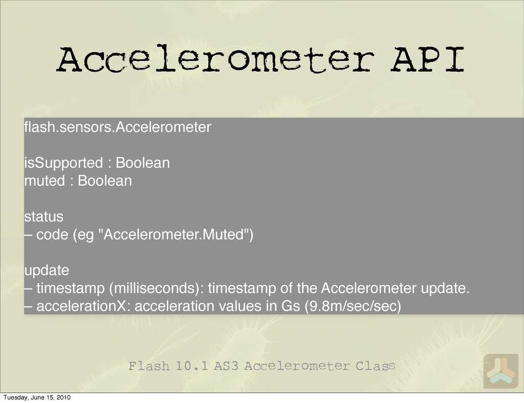 A elerometer API Flash 10.1 AS3 A elerometer Cl...